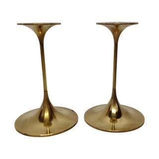 Danish Brass Candlestick Holders - A Pair