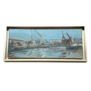 Hencer Molina Oil on Canvas - Port Scenes of Buenos Aires
