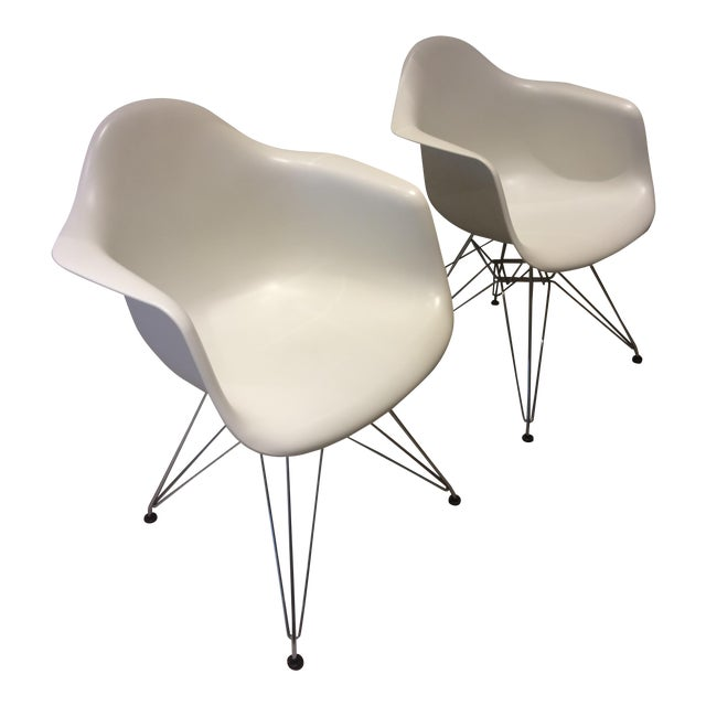 Image of Eames White Molded Armchairs - A Pair