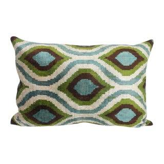 Sage, Mineral Blue and Green Silk Velvet Pillow