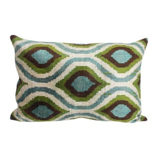 Sage, Mineral Blue and Green Silk Velvet Pillow