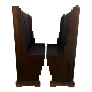 Vintage Gothic Style Wooden Benches - a Pair