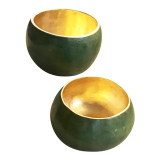 Green & Gold Decorative Bowls - A Pair