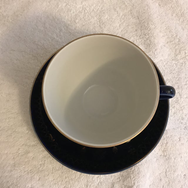 Vintage Russian Lomonosov Cobalt Blue & Gold Tea Cup - Image 3 of 10
