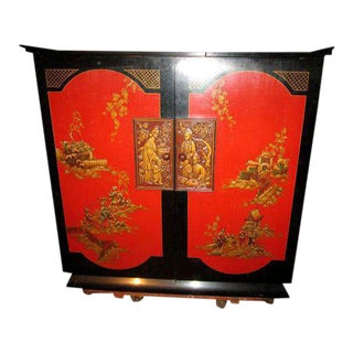 Chinoiserie Red Lacquer Bar Cabinet Radio Tube