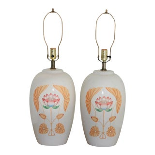 Mid-Century White Ceramic Lamps with Floral Motif - A Pair