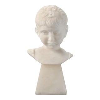 Sculpted Marble Bust of a Boy