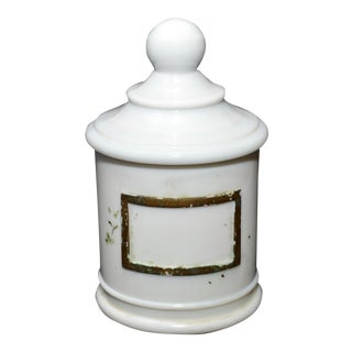 1930's J.V. Co. Inc. Milk Glass Akro Agate Apothecary Jar