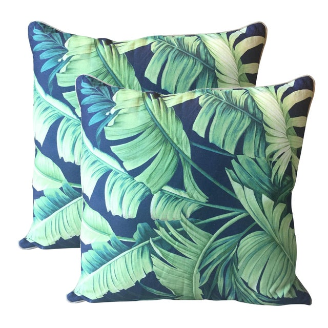Palm Print Regency-Style Pillow Covers - A Pair - Image 1 of 5