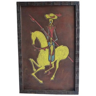 Large California Red Wood Carving of Don Quixote