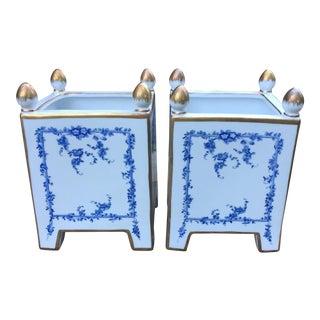 Chelsea House Porcelain Blue Gold Cachepots - A Pair
