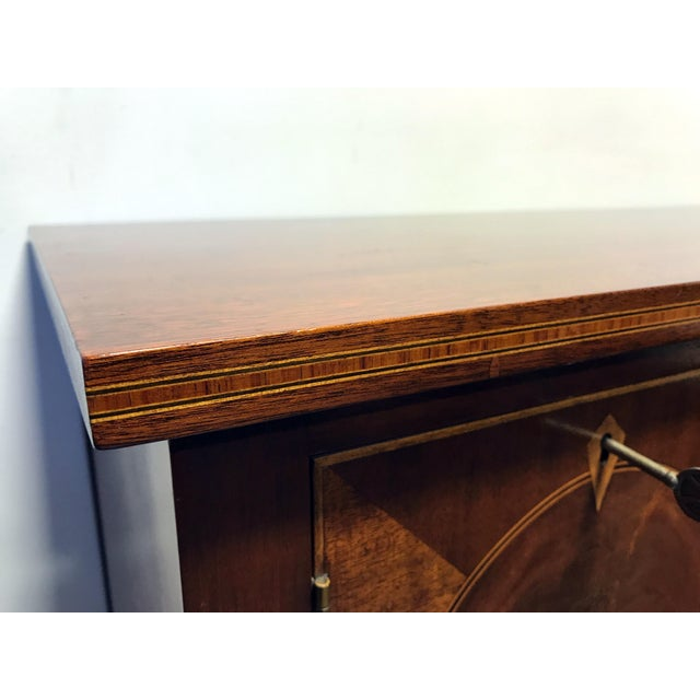 Late 19th Century Inlaid Mahogany Walnut Satinwood Bow Front Sideboard / Console - Image 8 of 11