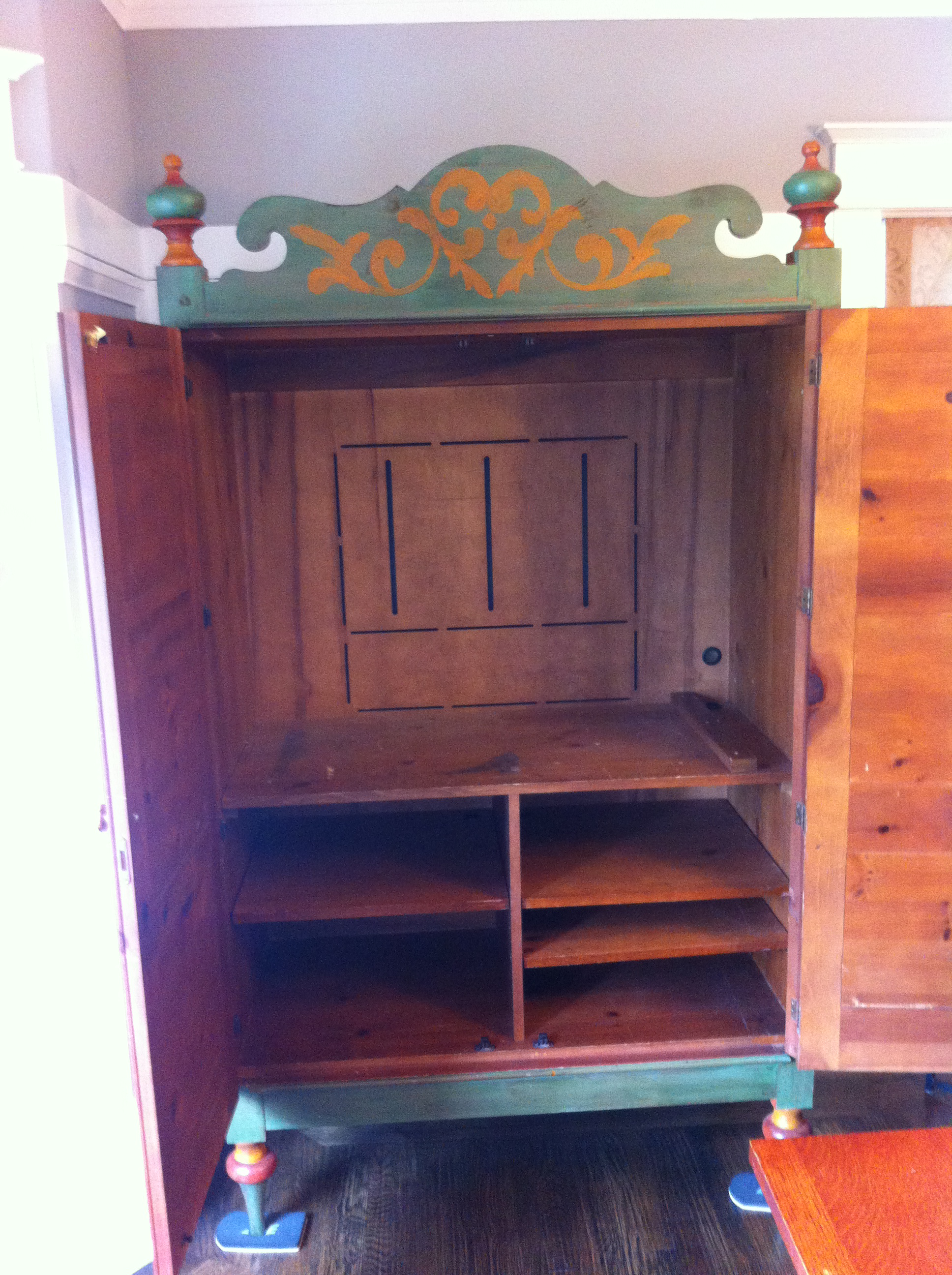 Romweber Painted Knotty Pine Armoire   Image 3 Of 5