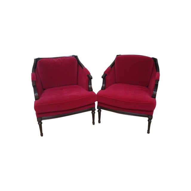 Vintage Mohair Club Chairs - A Pair - Image 1 of 6