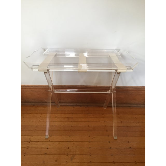 Image of Scheibe Folding Lucite Luggage Rack With Tray