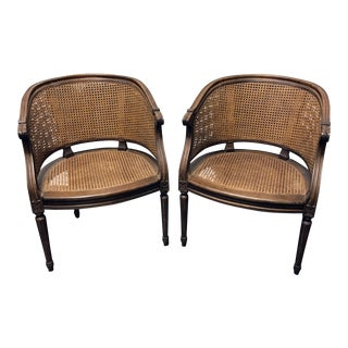 Vintage French Louis XVI Style Cane Barrel Chairs - Pair