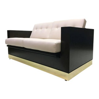 Midcentury Ebonized Wood And Brass Box Love Seat
