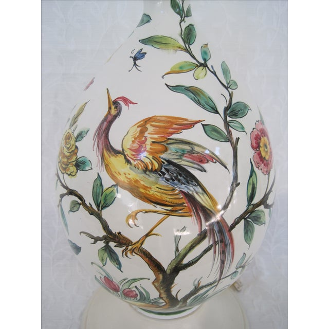 Mid-Century Hand Painted Lamp Stylized Bird - Image 5 of 8