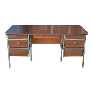 Le Corbusier Style Vintage Chrome & Wood Desk