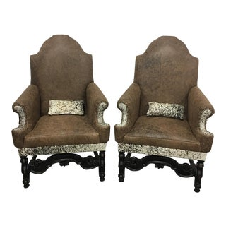 Distressed Leather & Cowhide Chairs - A Pair