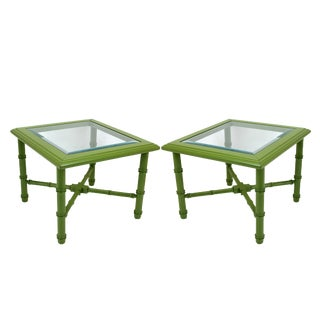 Mid-Century Faux Bamboo Side Tables - A Pair