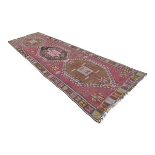 Vintage Turkish Handmade Large Runner Kilim Rug - 4′5″ × 15′3″