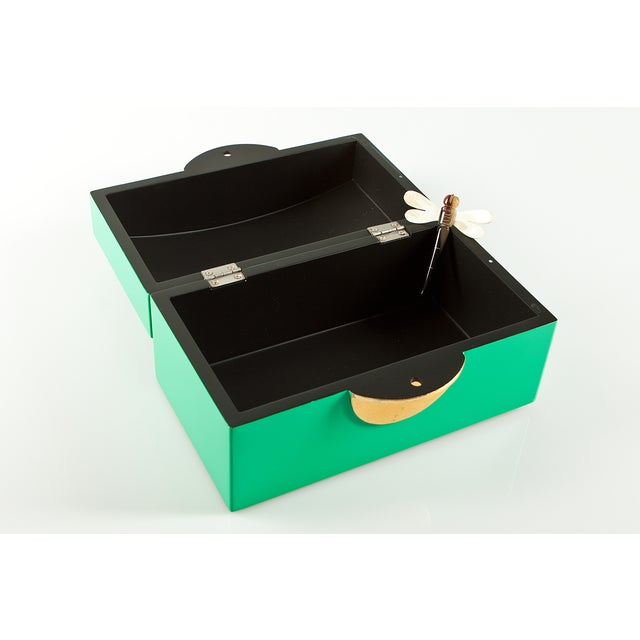 Image of Kelly Green Lacquer Box With MOP Dragonfly Clasp