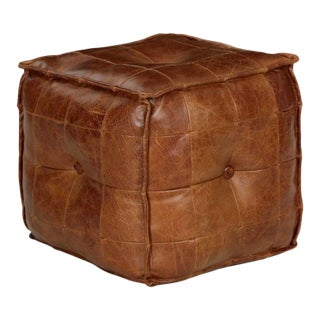 Stitched Saddle Leather Pouf Ottoman Footstool, 20th Century