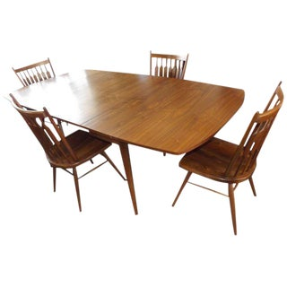 Kipp Stewart for Drexel Walnut Drop-Leaf Dining Set