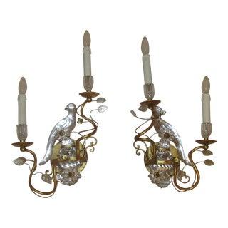 Gilded Maison Bagues Parrot Bird Sconces - A Pair
