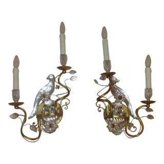 Gilded Maison Bagues Parrot Bird Sconces - A Pair