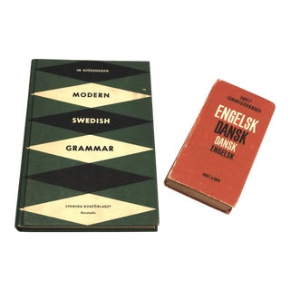 Vintage Danish & Swedish Grammar Foreign Language Books - A Pair