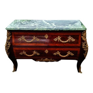 Antique French 2 Drawer BRONZE Mounted MARBLE TOP Chest COMMODE DRESSER