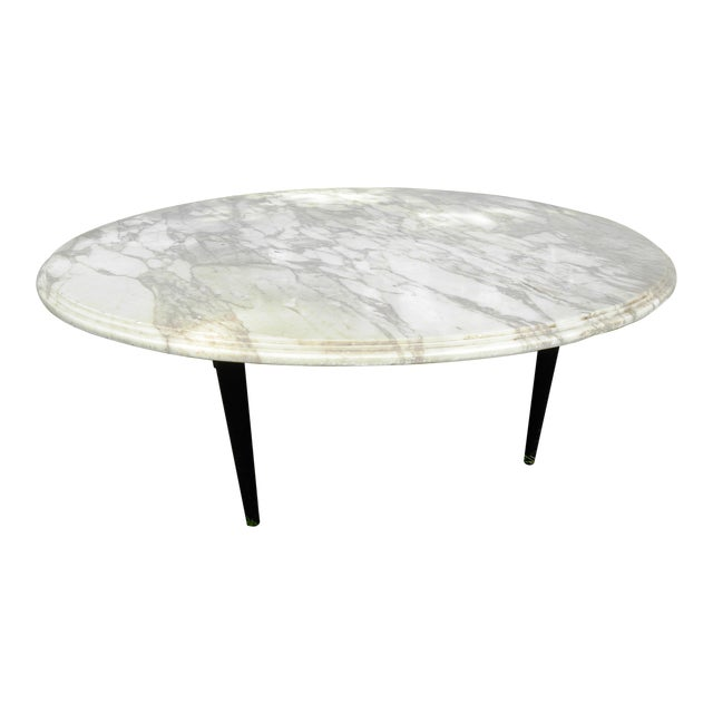 Vintage Mid-Century White Marble Coffee Table - Image 1 of 8