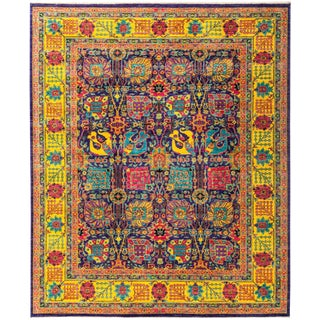 "Eclectic Hand Knotted Colorful Floral Wool Area Rug - 8' 0"" X 9' 7"""