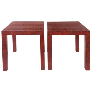 A Pair of Red Faux Crocodile Leather Parsons Side Tables