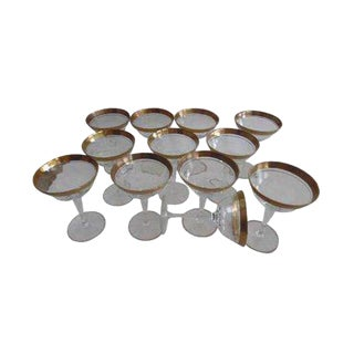 Tiffin Minton Franciscan Gold Champagne Glasses - Set of 12