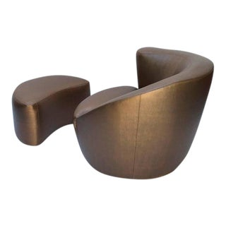 "Swivel ""Corkscrew"" Lounge Chair and Ottoman by Vladimir Kagan"