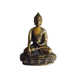 Vintage Brass Buddha Statue Tibetan Statue Sitting on Lotus