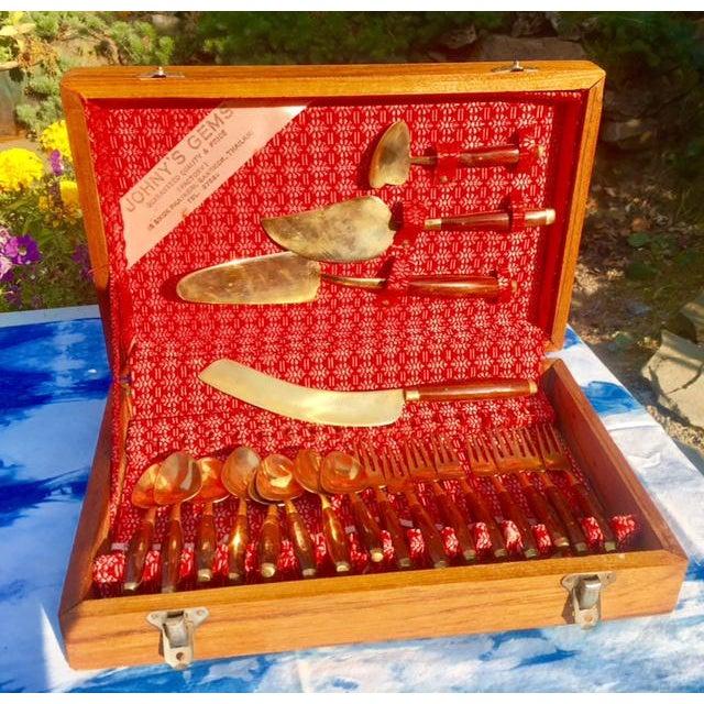 Mid-Century Brass Dessert Serving Set in Teak Box - Set of 20 - Image 2 of 11