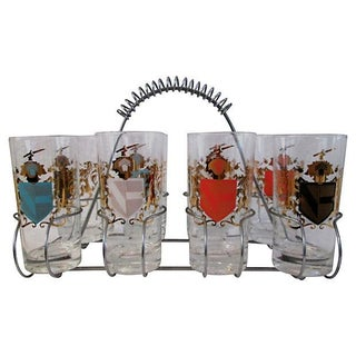 Knight's Crest Highball Glasses With Caddy - S/9