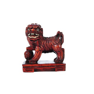 Chinese Antique Carved Wood Foo Dog