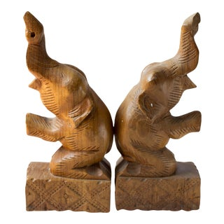 Vintage Wooden Elephant Bookends - A Pair