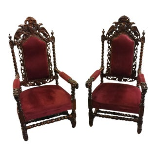 19th C. French Griffin & Dragon Oak Chairs - A Pair