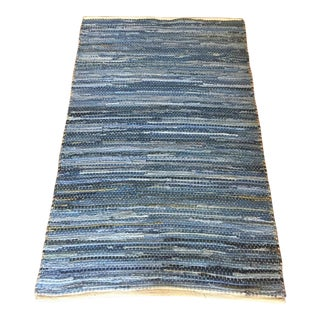 Handmade Indian Modern Denim & Jute Woven Rug - 3′ × 5′