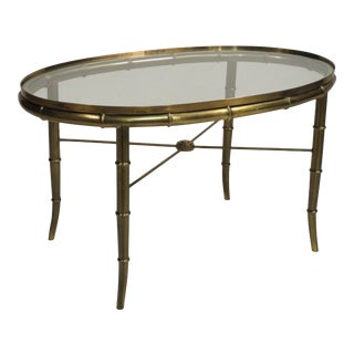 Mastercraft Faux Bamboo Brass & Glass Coffee Table