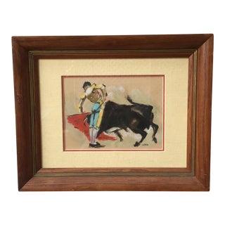 Mid-Century Pastel Bullfighter Art