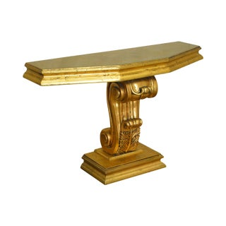 Hollywood Regency Vintage Gold Leaf Console Table