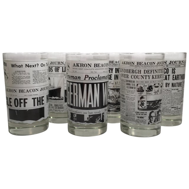 Libbey Newspaper Headline Tumblers - Set of 6 - Image 1 of 6