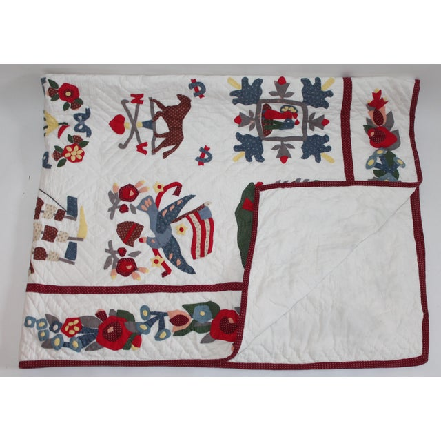 Image of 20th Century Hand Made Repro Applique Quilt